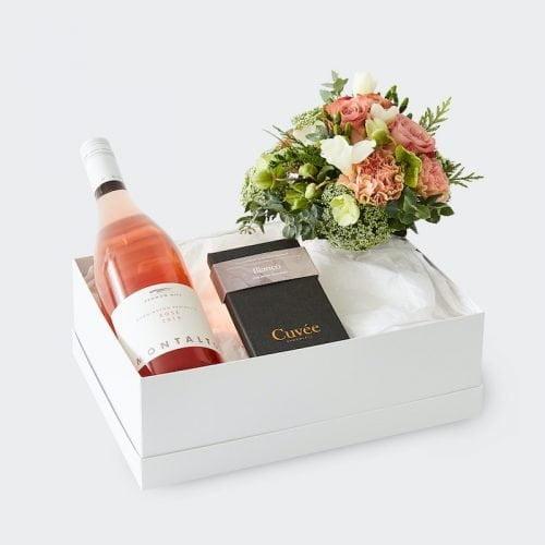 Wine Time Gift Hamper Rose. The Petal Provedore. Melbourne.
